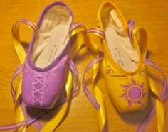 Hand painted (acrylic) Tangled themed pointe shoes, with organdy and satin ribbons. These pointe shoes capture the beautiful colors, and images
