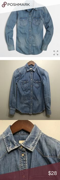 """J Crew Factory Two Pocket Denim Long Sleeve Shirt J Crew Factory Women Small Two Pocket Denim Shirt Long Sleeve Button Down. Style number 25522. Gently worn, no flaws   Chest 16"""" Length 24.5"""" J. Crew Factory Tops Button Down Shirts"""