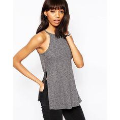 ASOS Sleeveless Marl Cami Tank (76 MYR) ❤ liked on Polyvore featuring tops, grey, jersey tank, high neck tank, cotton tank, sleeveless tank and gray tank top