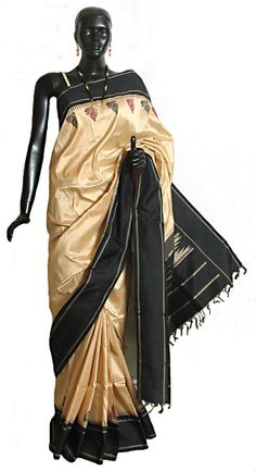 Light Beige South Silk Saree with Black Border and Pallu (Silk))