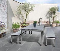 Tegola ceramiq 80x40x4 lichtgrijs - Stadstuin met allure, een kleine stadstuin met een groots effect. Kies voor deze tegel in formaat 80x40 en je terras oogt meteen extra large.