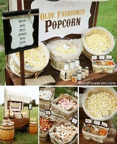 Featured in Backyard Bar Party Ideas from Gooseberry Patch: Rustic Popcorn Bar from Pen & Paper Flowers