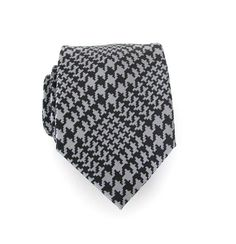 Necktie Black and Gray Houndstooth Mens Tie by TieObsessed on Etsy, $19.95