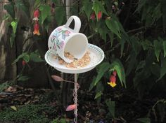 Tea Cup Bird Feeder 18 by Studio5oceanO on Etsy, $18.00