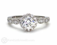 14K Moissanite Verlobungsring Diamant Halo Kissen schneiden Konflikt frei Moissanite Ring