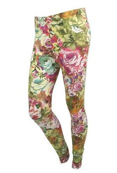 Floral Print Stretch Tights – Leggings