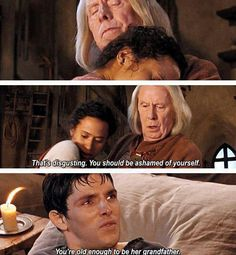 Comforting platonic hugs?! Merlin WILL NOT stand for such inappropriate nonsense!