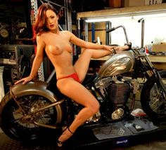 Wife on harley naked