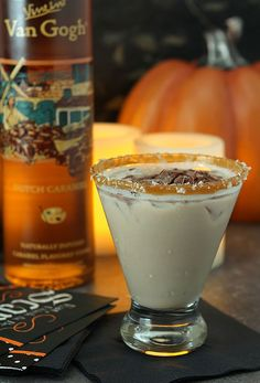 I'm making a batch of these Salted Caramel Chocolate Martinis for Halloween but they would be good all season. They're a great dessert cocktail!