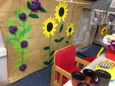 Garden Centre role play area. Garden Ideas Eyfs, Garden Crafts For Kids, Preschool Garden, Role Play Areas, Outdoor Classroom, Classroom Ideas, Dramatic Play Area, Book Corners, Farm Theme