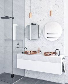 "cool Scandinavian Colour + Design on Instagram: ""// THOSE Carrara Marble Fish Scale Mosaics + that oversized BLACK shower head ;) Styled by @Marsha Golemac for @studio103ptyltd. Photo by…"""