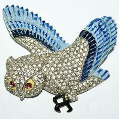Coro Enamel Rhinestone Owl Pin Brooch 1938