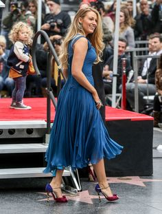 Blake Lively Brings Her Children to the Walk of Fame - Blake Lively in Atelier Versace and Christian Louboutin