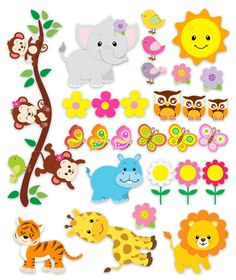 Kids wall sticker Animal Kit of the jungle. Several children's vinyls with all kinds of jungle animals. Jungle Animals, Cute Animals, Wall Stickers Animals, Creation Couture, Animal Sketches, Doodle Art, Creations, Clip Art, Illustrations