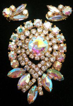 Aurora Borealis Rhinestone Brooch and Earrings Set