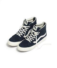 madewell vans® sk8-hi slim zip high-top sneakers in navy leather. 8b3c87bcb