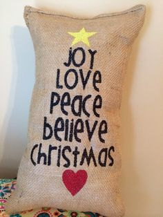 Burlap Christmas Pillow Joy Love Peace Believe Christmas Tree Cute Decor - 26 Awesome Handmade Christmas Pillows and Covers