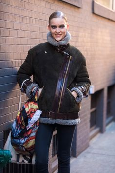 Katya Riabinkina wearing #AcneStudios Velocite oversized shearling jacket at New York Fashion Week #NYFW