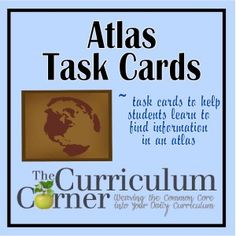 ATLAS TASK CARDS: We created these task cards to be used as a morning center or at a literacy center.  We believe that being able to read an atlas is part of non-fiction reading literacy.  We have made two different recording pages.