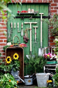 Gardening Vignette!!! Bebe'!!! Love the Vintage Tin Watering Can and Pail!!!