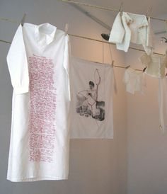 Lotta-Pia Kallio installation: image transfer on recycled textiles, embroidery