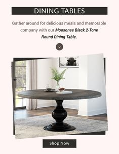 Gather around for delicious meals and memorable company with our Moosonee Black 2-Tone Round Dining Table. #diningroom #interiordesign #homedecor #interior #livingroom #diningroomdecor #diningtable #furniture #home #design #decor #kitchen #bedroom #homedesign #interiors #diningroominspo #livingroomdecor #furnituredesign #interiordesigner #diningroomdesign #dining #decoration #kitchendesign #table #interiorstyling #customfurniture #largetable #solidwood #roundtable #round
