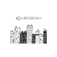 Love My Urban Life Whimsical Cityscape Illustration Print City Urban Life Wall Art. $18.00, via Etsy.