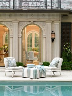 Another great cabana design. Like that it has doors and is alongside the pool Outdoor Rooms, Outdoor Living, Gazebos, Pool Cabana, Enchanted Home, Pool Houses, Style At Home, Home Fashion, My Dream Home
