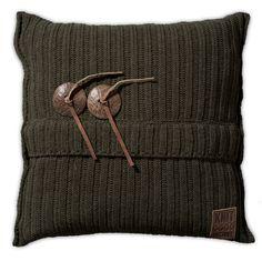 Pillow 50x50 - Aran VZ green by Knit Factory www.knitfactory.nl