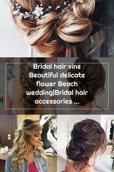 Bridal hair vine Beautiful delicate flower Beach wedding|Bridal hair accessories|Tocado de novia|Bri Wedding Hair Side, Bridal Hair Vine, Bridal Hair Accessories, Vines, Wedding Hairstyles, Delicate, Dreadlocks, Beautiful, Hair Styles