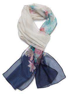 Cream multi Floral Border - scarves - accessories  - Women