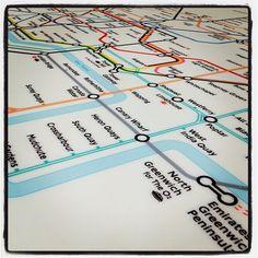 London Underground tube map flooring on vinyl London Underground Tube Map, Alternative Flooring, Interactive Walls, Large Format Printing, Mind The Gap, Carpet Tiles, Kid Spaces, Kitchen Flooring, Deco