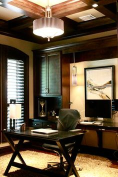 Like the coffered ceiling; desk arrangement is worthy of consideration