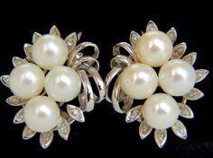Pearls & Diamonds, a woman's best friend.  7.50MM NATURAL AKOYA PEARL .30CT DIAMOND EARRINGS 14KT : Lot 1524