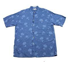 #Vintage #90s Pierre Cardin Blue #PalmTree Print #HawaiianShirt #Mens Size Large