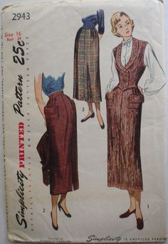 Vintage 1940's Sewing Pattern Slim Skirt and Weskit
