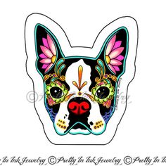 This cute little Boston Terrier is an original hand drawn design by Cali (owner and artist of Pretty In Ink Jewelry). He is ready to