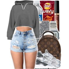 A fashion look from March 2017 featuring Boohoo hoodies, NIKE sneakers and Louis Vuitton backpacks. Browse and shop related looks.