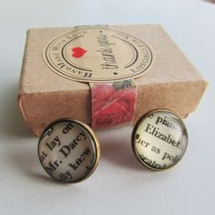 The perfect gift for any book lover! Beautiful Pride and Prejudice glass cabochon earrings with Elizabeth and Mr. Looks great for any occasion. Comes tastefully gift wrapped in a recycled craft box. Craft Box, Any Book, Pride And Prejudice, Book Lovers, Gift Wrapping, Jewellery, Earrings, Crafts, Gift Wrapping Paper