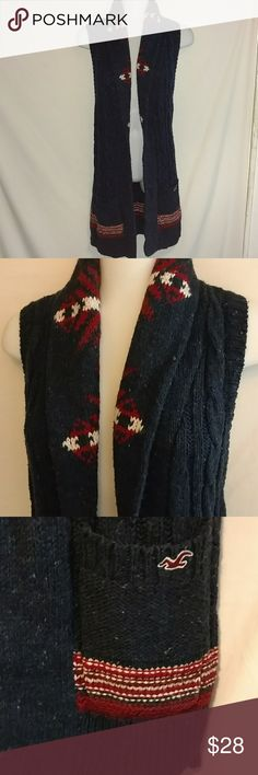 { Hollister } Long Fair Isle Shawl Collar Vest - Hollister vest - long - shawl collar - navy blue with light blue speckles and a red and white fair isle pattern - pockets  I will consider all reasonable offers.  No trades. No modeling. Hollister Jackets & Coats Vests