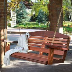 Classic 4-Ft Porch Swing in Red Cedar Wood - Amish Made in USA-Outdoor > Outdoor Furniture > Porch Swings and Gliders-Loluxe
