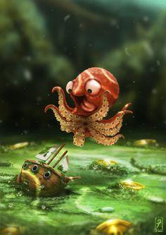 The Kraken! Art Print--HOW stinkin' cute is this little guy?!  Rawr--Release the Kraken!