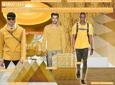 SS 2016 Mens Key Color, mango lassiMANGO LASSI, APPAREL  This warm orange-tinted yellow emerges as a new hue for menswear this Summer, proving an ideal versatile tone for knits and outerwear. Burberry offers a playful twist on the utility jacket, while Gucci keeps it simple with a casual tee. Elsewhere, Roccobarocco adds the shade to a lightweight knitted sweater.