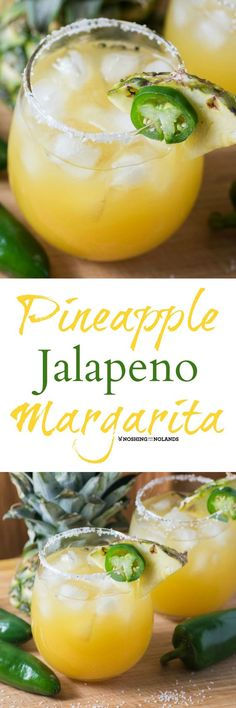 Pineapple Jalapeno Margarita served up with a touch of heat is a refreshing tropical blend that is a perfect before dinner drink! #ad