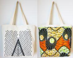 deux carres : reversible natural/wax fabric shopping bag
