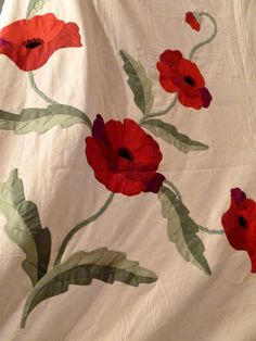 Poppy, 1930s kit quilt, applique by Barb Vlack, posted by Sue Garman