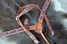 HORSE BRIDLE WESTERN LEATHER HEADSTALL BREAST COLLAR PINK BLING RODEO TACK HB546