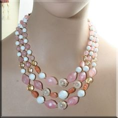 Vintage Necklace Pink Candy Multi Strand Lucite Beads