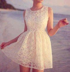White Laced Babydoll Dress. Summer Fashion