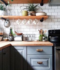 Unusual DIY Kitchen Open Shelving Ideas,Kitchen ideas furnishing country house with wood. Unusual DIY Kitchen Open Shelving Ideas Elevate Your Room With New Kitchen Deco. Kitchen Tiles, Kitchen Colors, Kitchen Decor, Kitchen Shelves, Kitchen Paint, Glass Shelves, Kitchen Drawers, Open Cabinet Kitchen, Kitchen Interior
